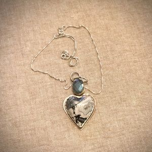 Stunning handmade blue and gray necklace